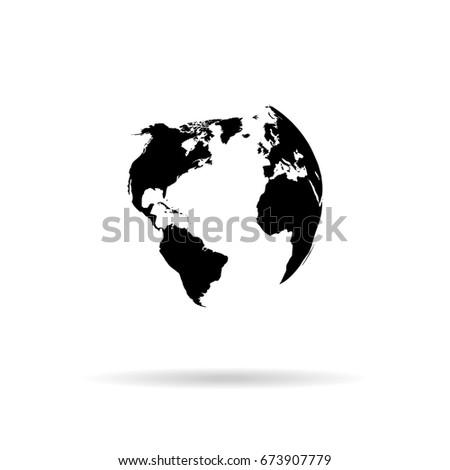 Globe Vector Silhouette World Map Illustration Stock Vector (Royalty ...
