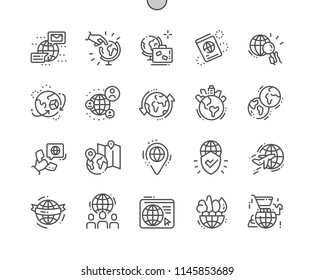 Globe Well-crafted Pixel Perfect Vector Thin Line Icons 30 2x Grid for Web Graphics and Apps. Simple Minimal Pictogram