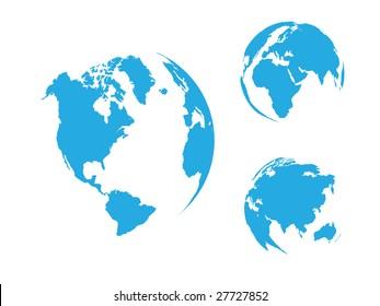 Globe of the World, blue / vector