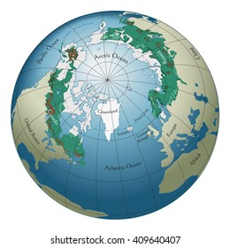 A globe of the world featuring the boreal forest