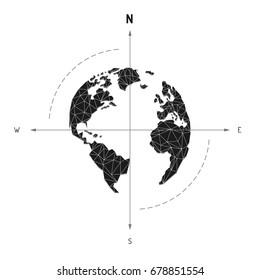 Globe world map compass arrow nautical travel. America, Europe, Atlantic Ocean Lowpoly triangular. Vector illustration. White background. Eps10.