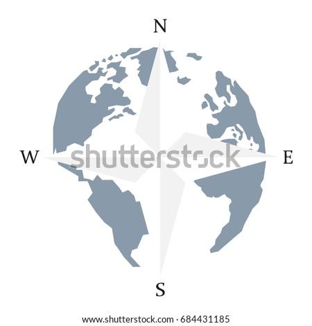 North Arrow On Map Of Canada.Globe World Map Compass Arrow Nautical Stock Vector Royalty Free
