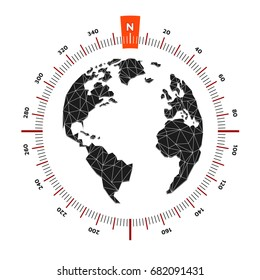 Globe world map compass nautical travel. Scale is 360 degrees. North designation. America, Europe, Atlantic Ocean. Lowpoly triangular. Vector illustration. White background. Eps10.
