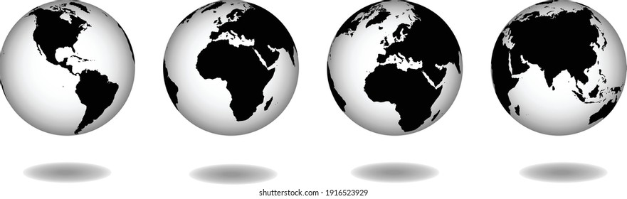 Globe world map, perspective from America, Africa, Europe and Asia