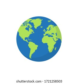 Globe world map with shadow on white background. Vector Illustration.