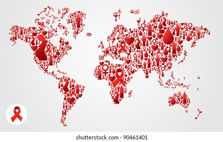 Globe World map silhouette made with AIDS icon set. Vector file available