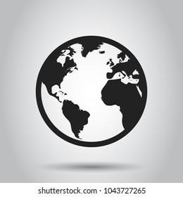 Globe world map vector icon. Round earth flat vector illustration. Planet business concept pictogram.