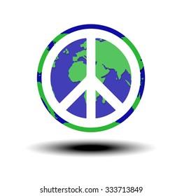 globe with world peace symbol Vector illustration
