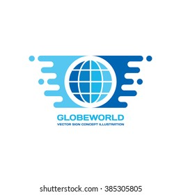 Globe world - vector logo template concept illustration in flat style. Travel sign. Stylized earth with wings symbol. Design element.
