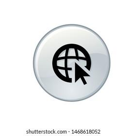 globe world web button icon vector eps10