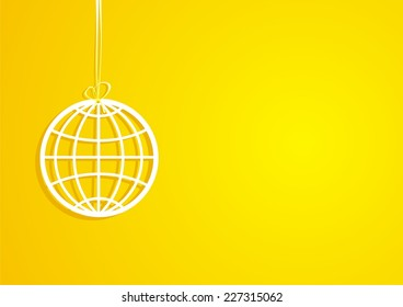 Globe. Yellow background. Vector illustration.