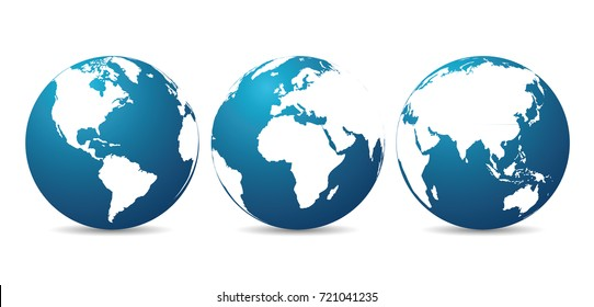 Globes with continents - vector