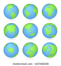 Globes icon collection. World map. Planet with continents Africa, Asia, Australia, Europe, North America and South America, Antarctica