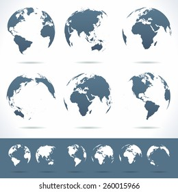 Globes set - illustration Vector set of different globe views No contours.