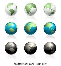 Globes set, vector