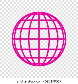 Globes sign illustration. Vector. Magenta icon on transparent background.