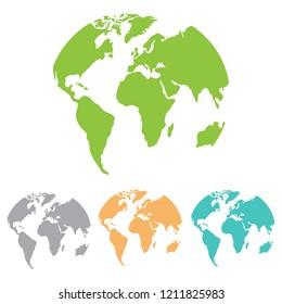 Globes vector set planet earth. Flat design, vector.