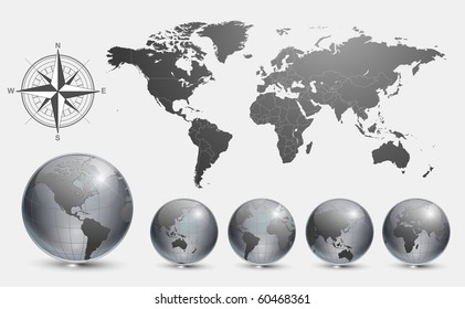 Australia map icon stock vectors images vector art shutterstock globes with world map vector gumiabroncs Choice Image