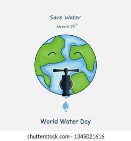The Globe,Water drop and water tap icon.The globe icon vector logo design template.World Water Day icon.World Water Day idea campaign concept for greeting card and poster.Vector illustration