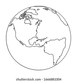 Globus planet earth with the continents of North and South Latin America from black contour curves lines on white background. Vector illustration.