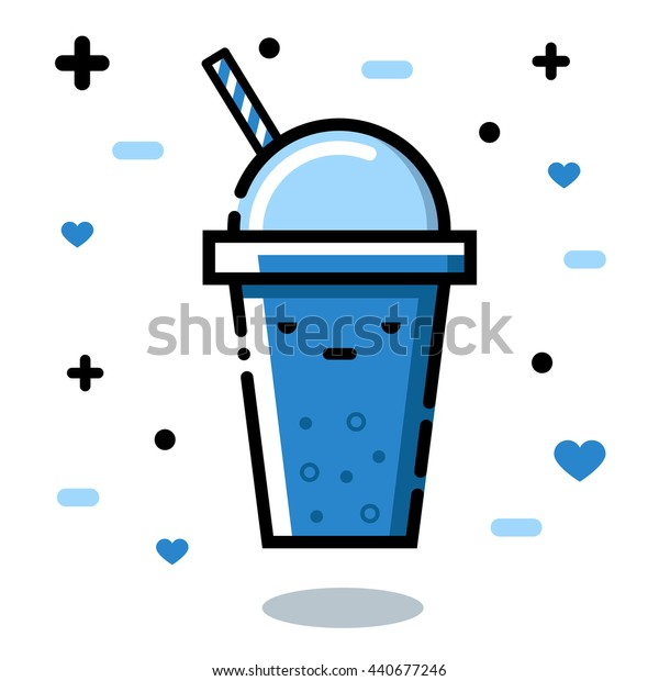 Gloomy glass. Cute cartoon fruit smoothies in cups. Natural bio drink, healthy organic food. Icon, Vector illustration