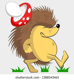 Gloomy hedgehog. Hedgehog with a mushroom on his back. Cartoon character. Walking on the grass.