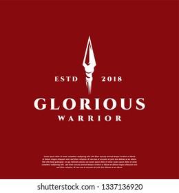 Glorious Warrior Logo vintage, Spear logo template