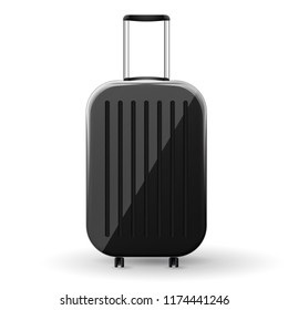Gloss black hard shell suitcase with spinner wheels. Vector Illustration.