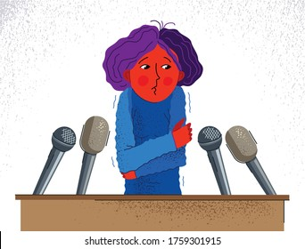 Glossophobia fear of public speech vector illustration, girl surrounded by microphones scared in panic attack, psychology mental health concept.