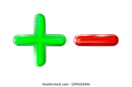 Glossy 3D plus and minus sign icon green, red symbol. Ui, ad. Design realistic isolated mathematical plastic toy. Balance concept pluses or minuses on light background. Eps 10.