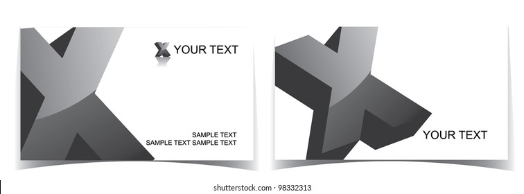 Glossy Alphabet Icon Symbol Business Card Set EPS 8 vector, grouped for easy editing.
