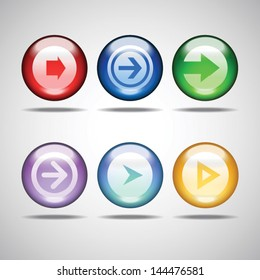 Glossy arrow button. Vector glass icon set for mobile apps and web design
