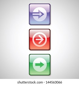 Glossy arrow buttons icons vector set
