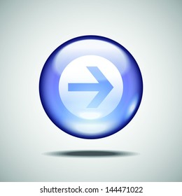 Glossy arrow vector button for mobile apps and web design.