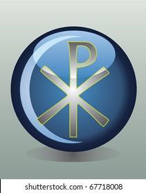 Glossy badge with Christian Chi Rho symbol