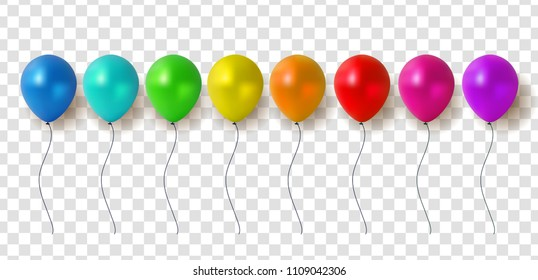 Glossy Balloons on Transparent Background Vector Illustration eps10