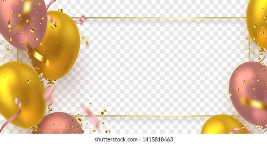 Glossy balloons in pink and golden colors with confetti and glitter frame. Vector decorative elements for holiday backgrounds or birthday party. Isolated on transparent background.