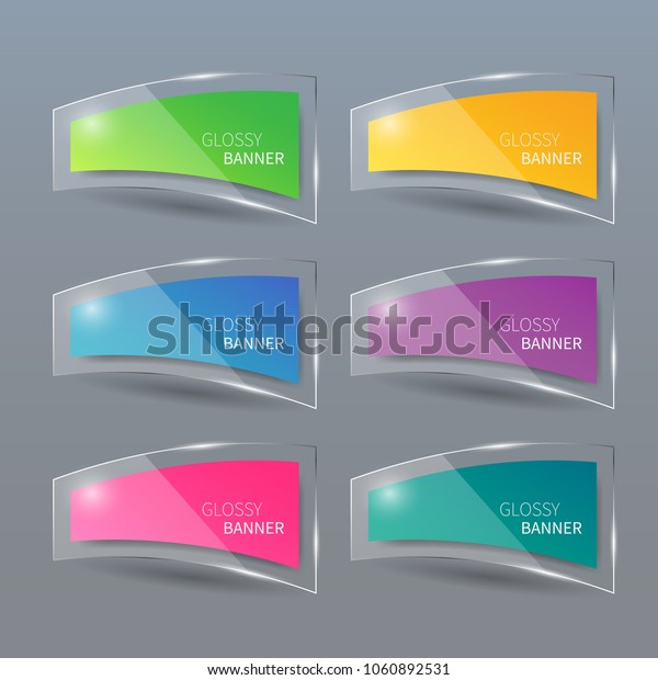 Glossy banner, glass banner vector.can be used for workflow layout,infographic, diagram, website, corporate report, advertising, marketing.vector illustration