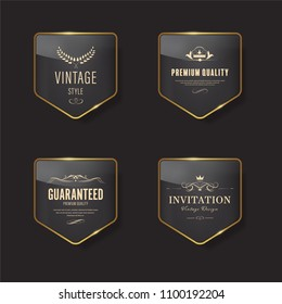 Glossy banner with gold metal frame. Vintage badges design.