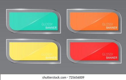 Glossy banner,glass banner vector.can be used for workflow layout,infographic, diagram, website, corporate report, advertising, marketing.vector illustration