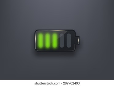 Glossy battery icon. Design element