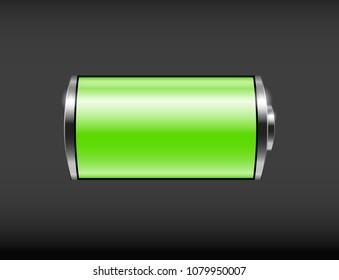 Glossy battery icon. Vector illustration