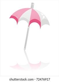 glossy beach umbrella isolated on white