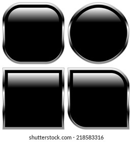 Glossy black shape, button backgrounds