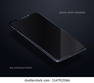 Glossy black smartphone floating over black background. Dark template of cellphone with a blank display. Concept of visionary mobile phone. Empty touchscreen. 3d vector mockup is in perspective view.