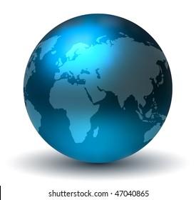 Glossy Blue Earth Globe