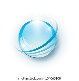 Glossy blue globe with rings around it, EPS 10, isolated
