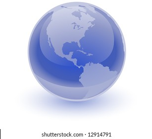 A glossy blue sphere with an etching of the America's on it. Great professional icon representing the earth.
