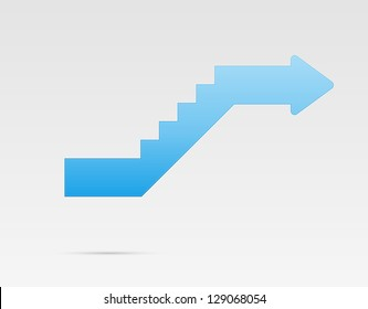 Glossy blue stylized stairs with arrow at the end / upstairs arrow