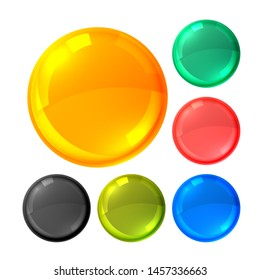 glossy bright circles buttons set
